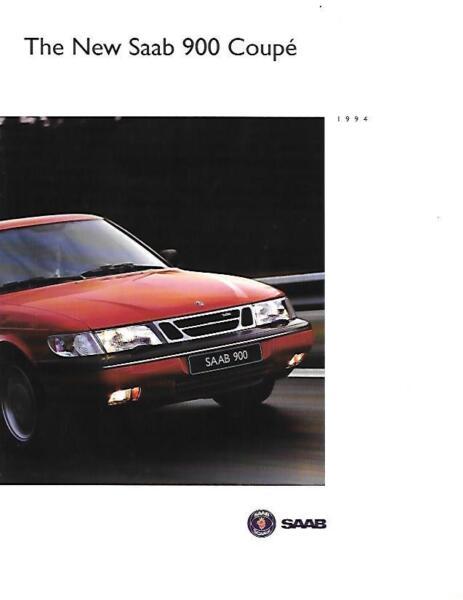 """nuovo"" Saab 900 Coupe Sales Brochure 1994 Styling Aggiornato"