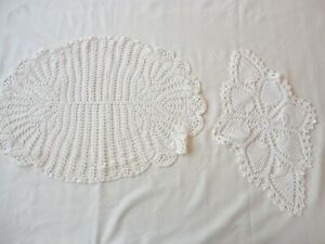 2 Vintage 1950's Hand Crochet Doilies Assorted Sizes
