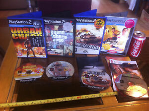 GTA-San-Andreas-Battlefield-2-PES-6-Urban-Chaos-PS2-Bundle-Original-Games-x4