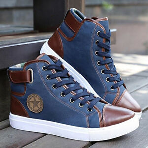Fashion-Men-Casual-High-Top-Sneakers-Shoes-Oxfords-Leather-Shoes-Lace-up-Canvas