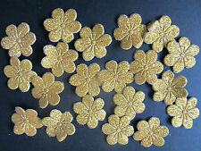 20 x Gold Carnaval De Tela Adornos de Flores para cardmaking & Scrapbooking