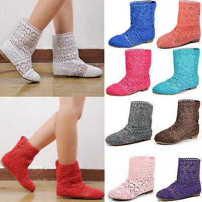Women Bohemian Ladies Summer Flat Cut Out Shoes Knitted Crochet Calf Short Boots