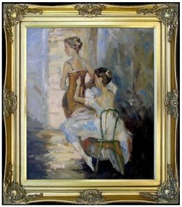 Framed-Ballerinas-Before-Stage-Quality-Hand-Painted-Oil-Painting-20x24in