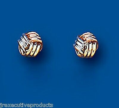 9ct 3 Colour Yellow Rose /& White Gold 4mm Knot Stud Earrings Weight 0.40g