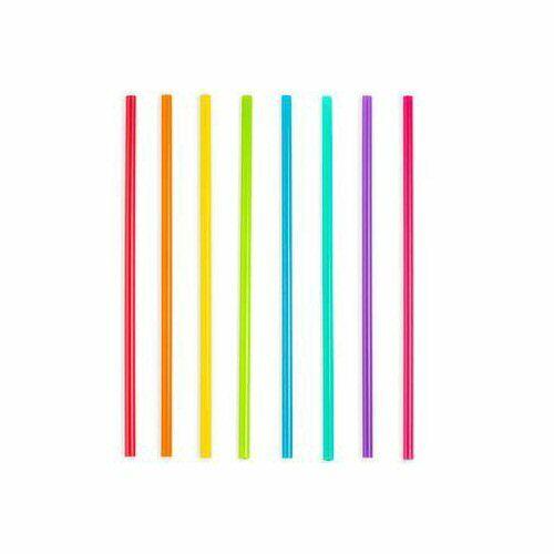 "Set of 24 Kikkerland Bright Color Reusable 11/"" Plastic Straws"