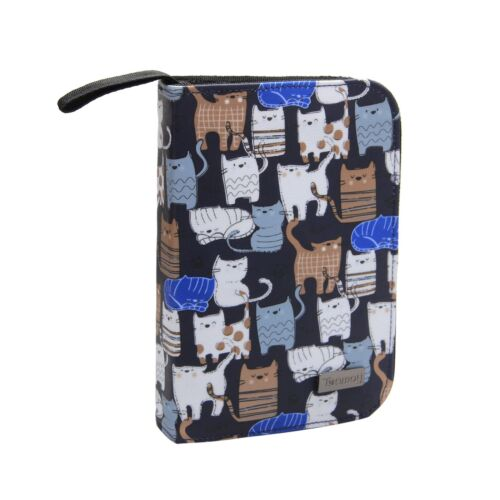 Crochet Hook Case Cats Blue Travel Carry Bag for Ergonomic Crochet Hooks Kits