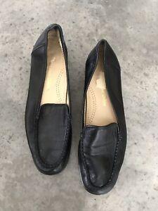 100% Vrai Classique Chaussure Noir Femmes Conduite Cuir Mocassins Plates Sz 37.5