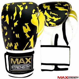 MAXSTRENGTH Boxing Gloves Punch Bag Gym Fight Training Mitts Rex Leather MMA UFC