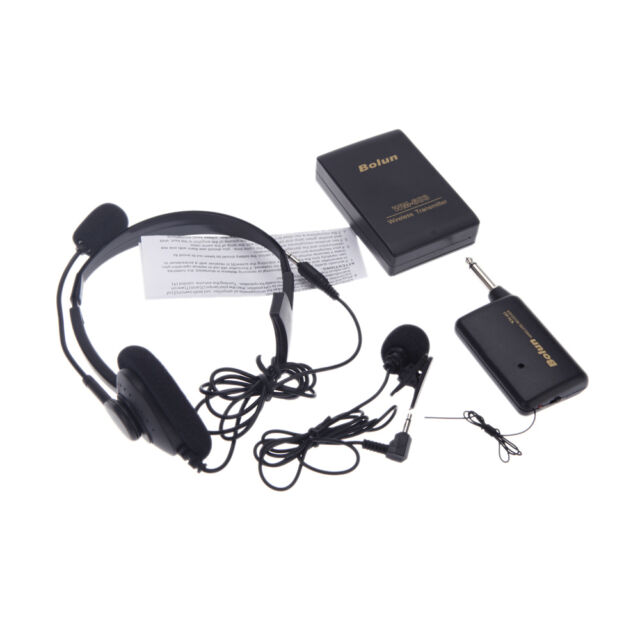 Lapel Wireless Headset Mic Remote Microphone System Kit FM Transmitter Receiver