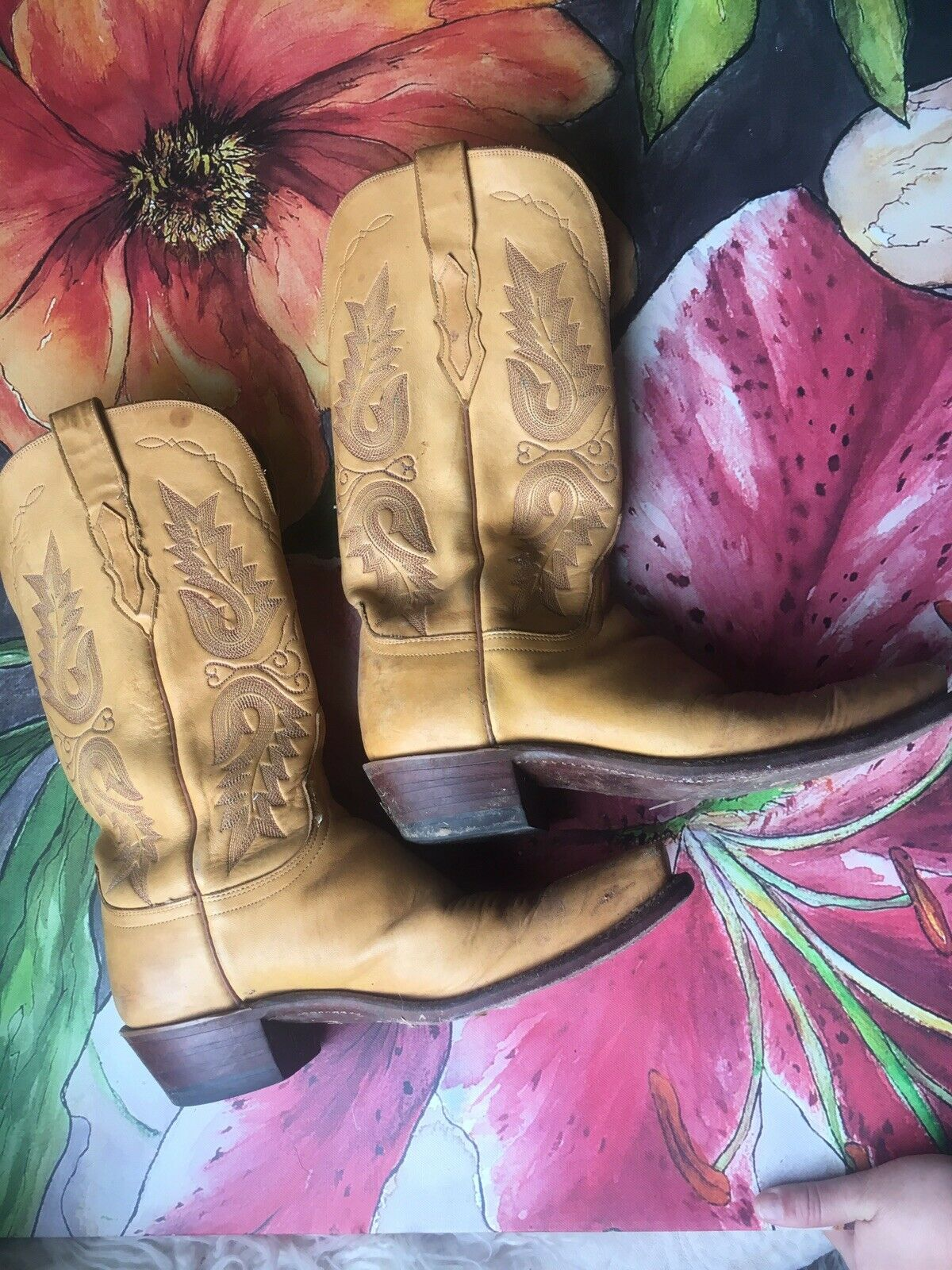 LUCCHESE 1883 1883 1883 Leather Yellow Texas Western Cowboy Boots 8.5 B 069f89