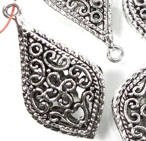 33mm Silver Pewter Pipa Teardrop Filigree Charm Pendant (5) ~ Lead-Free ~