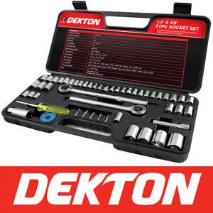 52pc-Socket-Set-2-X-Ratchet-1-2-034-amp-3-8-034-Bit-Coupler-Extension-Tool-Kit-Hard-Case
