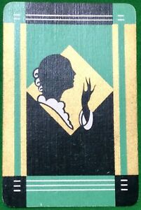 Playing-Cards-1-Single-Card-Old-Art-Deco-SILHOUETTE-Girl-Lady-BLOW-KISS-Design-2
