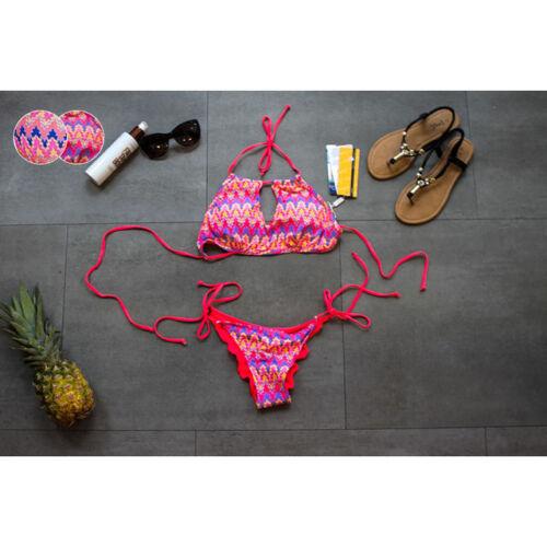 Fashion Houndstooth Dos Nu Cravate Bikini Rembourré Swim Wear Beachwear UK 8-14 8318