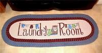 Vintage Braided Country Blue Laundry Room Runner Area Rug Mat 58 X 20
