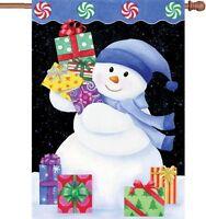 Snowman Presents House Flag Large 40 X 28
