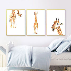 Details About Giraffe Animal Canvas Poster Wall Art Nursery Print Picture Baby Bedroom Decor