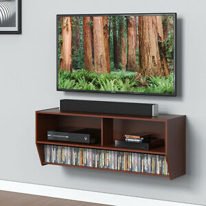 Wood Tv Stand Wall Mount Console Shelf Media Entertainment Center