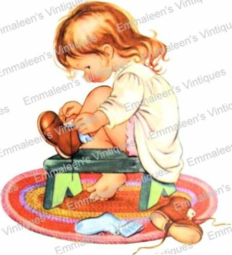 Vintage Image Retro Little Girl Tying Her Shoe Waterslide Decals KID673