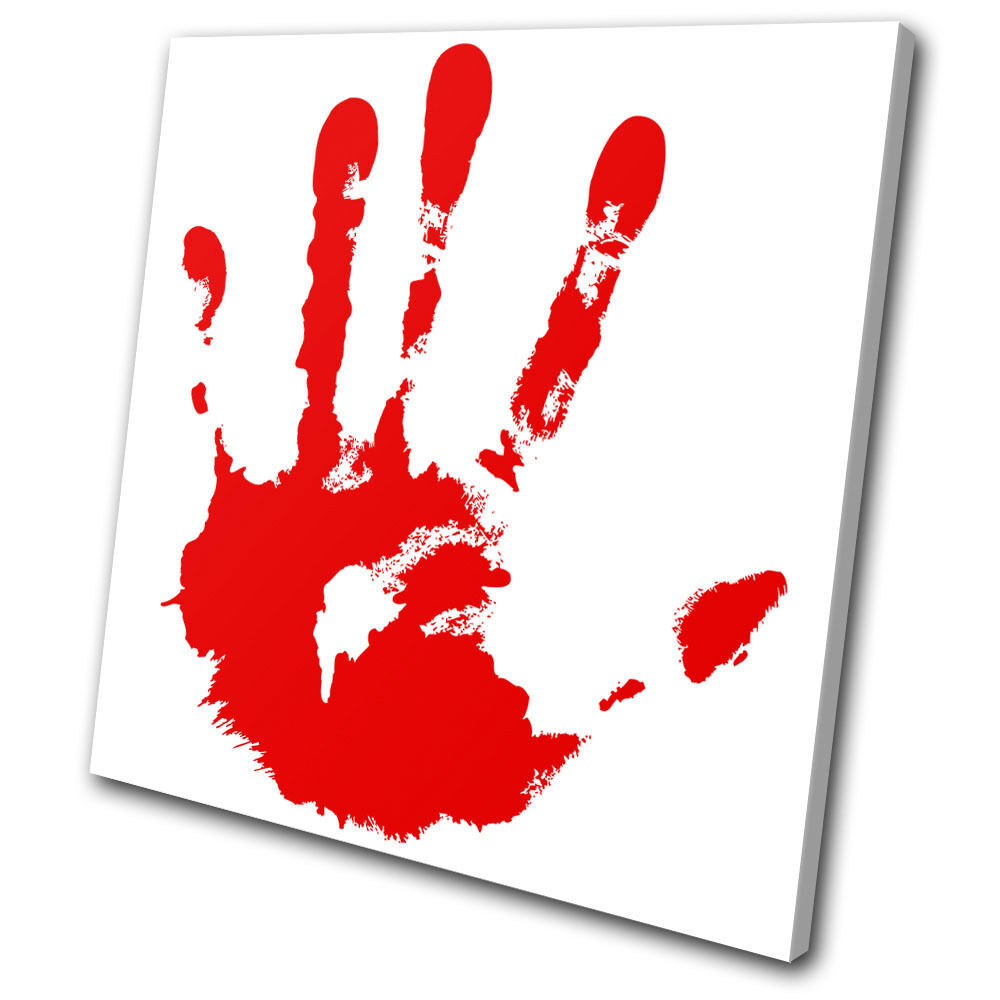 Illustration Blood Hand Print SINGLE TOILE murale ART Photo Print