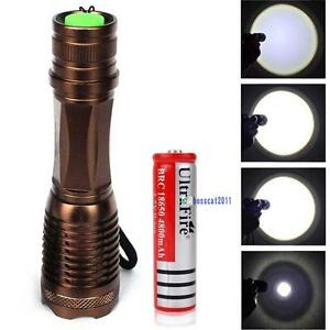 New-XM-L-T6-6000lm-LED-Flashlight-Zoomable-Bronze-18650-Battery-XD