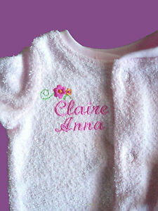 Personalised-Baby-Bodysuit-Jumpsuit-Growsuit-Any-Name-Blue-or-PInk-Gift-Twins
