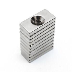GéNéReuse 10 Magneti Neodimio 20x10x3 Mm Calamita Potente Fimo Ceramica Con Foro 4mm