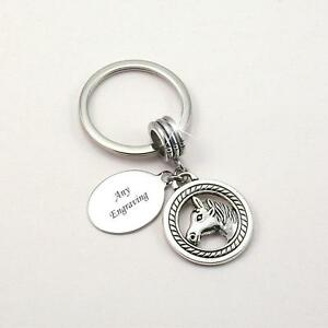 Image is loading Personalised-Keyring-with-Horse-Head-and-Engraving-Gift- 4ae24075fbed