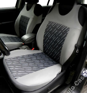 Fiat 500 Grey Hd Rubber Coated waterproof car Seat Covers pair