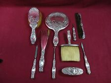 Dresden by Whiting Sterling Silver Vanity Dresser Set Dated 1895 10Pc Xmas Gift