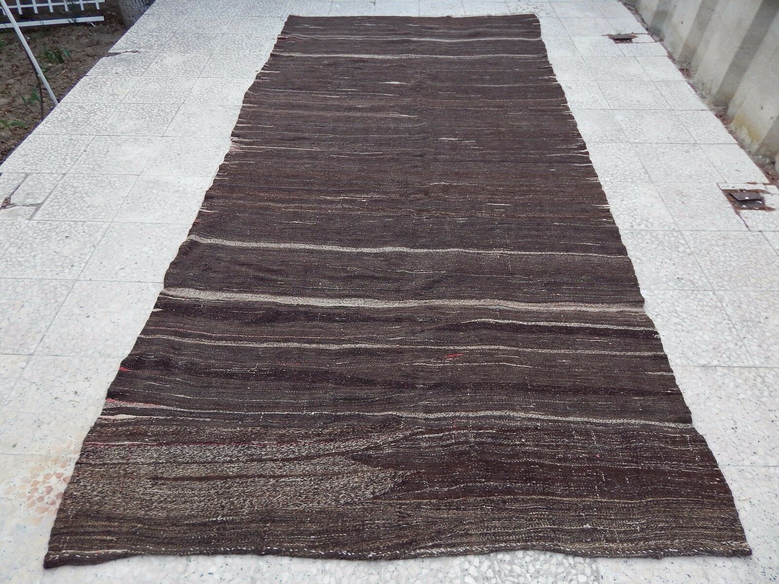 Mid Century Handwoven Natural Coloree Wide Goat Hair Kilim Rug Runner 5.2x10.5ft.