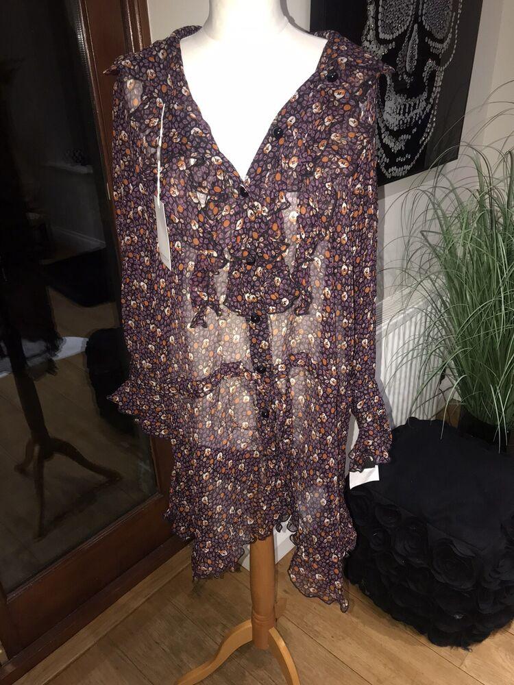 Anna Sui Soie Imprimé Floral Robe Sz M Rrp £ 335 Bnwt