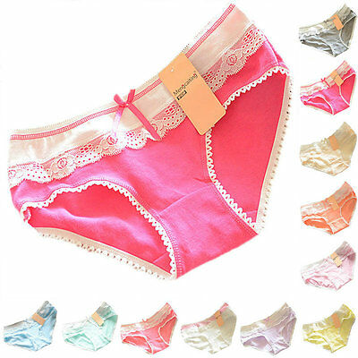 Cute Womens Candy Color Cotton Soft Lace Bow-knot Underwear Briefs Knickers A79