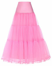 39'' Hoopless Petticoat Crinoline Prom Dress Retro Tutu Stack-up Long Skirt