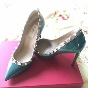 New-with-Box-Valentino-Rockstud-Pointed-Pump-Heels-Green-US-7-EUR-37