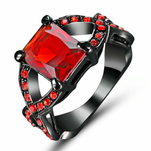 Red Ruby Size 7 white Black gold Rhodium Plated Anniversary Women Ring Gift