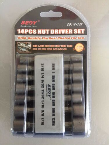 14 PC Different Size Hex Power Hand Nut Driver SET WHOLESALE