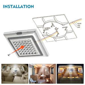 42-LED-Plafoniera-12V-Camper-Lampada-Luci-Interno-per-Auto-Barca-Roulotte-Bianco