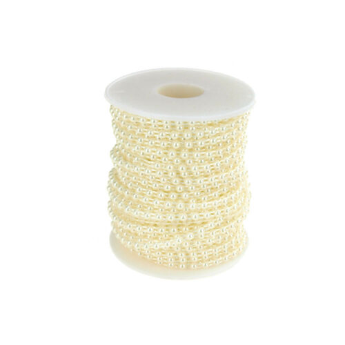 24-Yards Plastic Flat Back Craft Pearl String 4mm