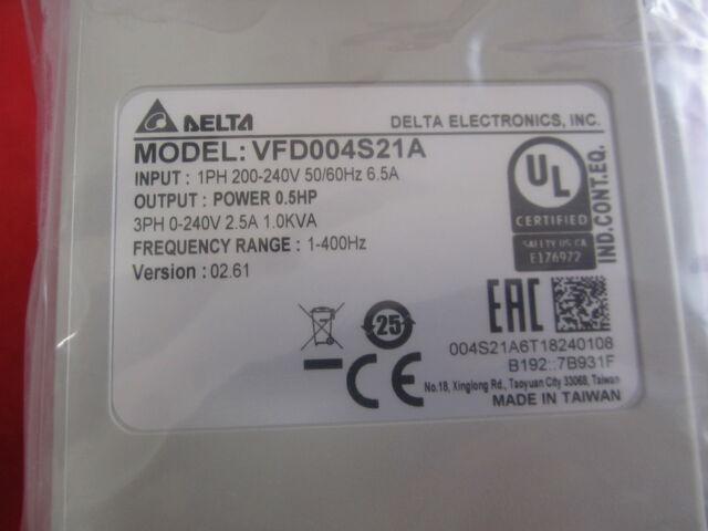 Original Delta Inverter VFD VFD004S21A 0.4kw 220v for sale online