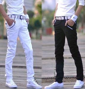 Mens-Casual-Pants-Slim-Straight-Leg-Cotton-Blend-Korean-Skinny-Pants-Trousers