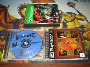 Playstation-1-rpg-lot-3-games-Legend-of-Dragoon-Darkstone-Monsterseed