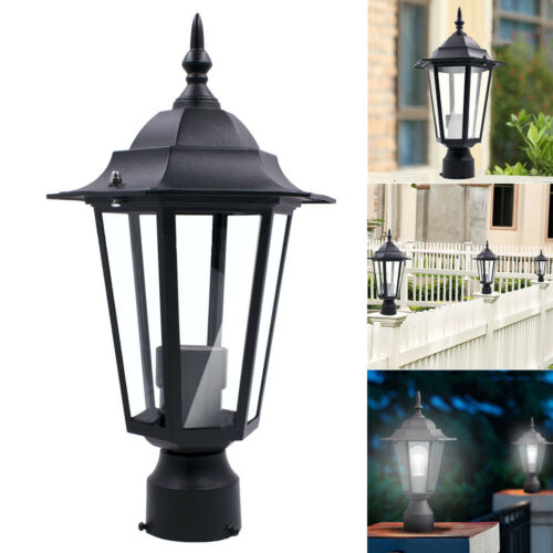 Post Pole Light Outdoor Garden Patio Driveway Yard Lantern Lamp Fixture Black