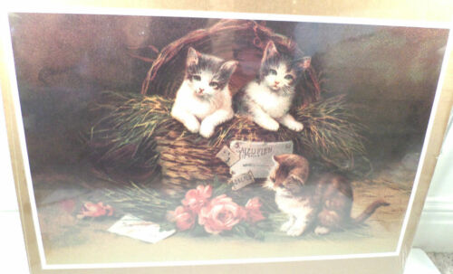 "Victorian Lithograph Print Picture /""Kittens In Mischief/"" Three Little Cats 13X20"