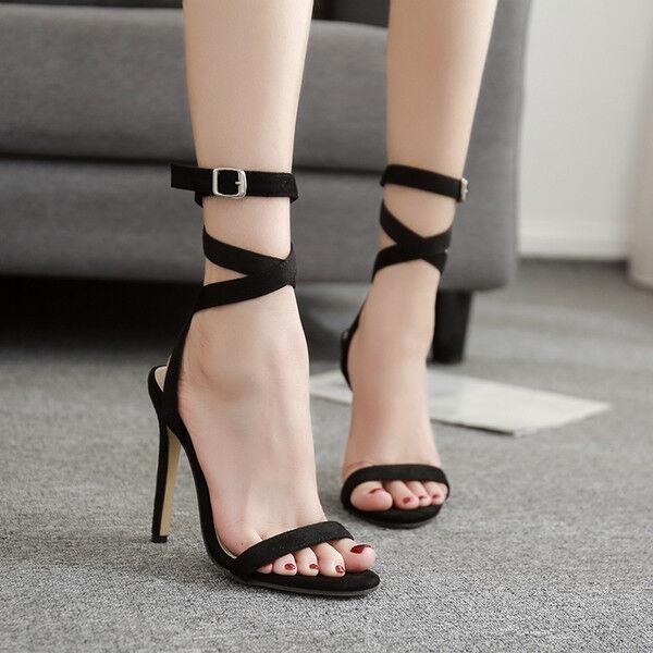 Sandale stiletto eleganti tacco 12 cm nero lacci simil pelle eleganti 1024