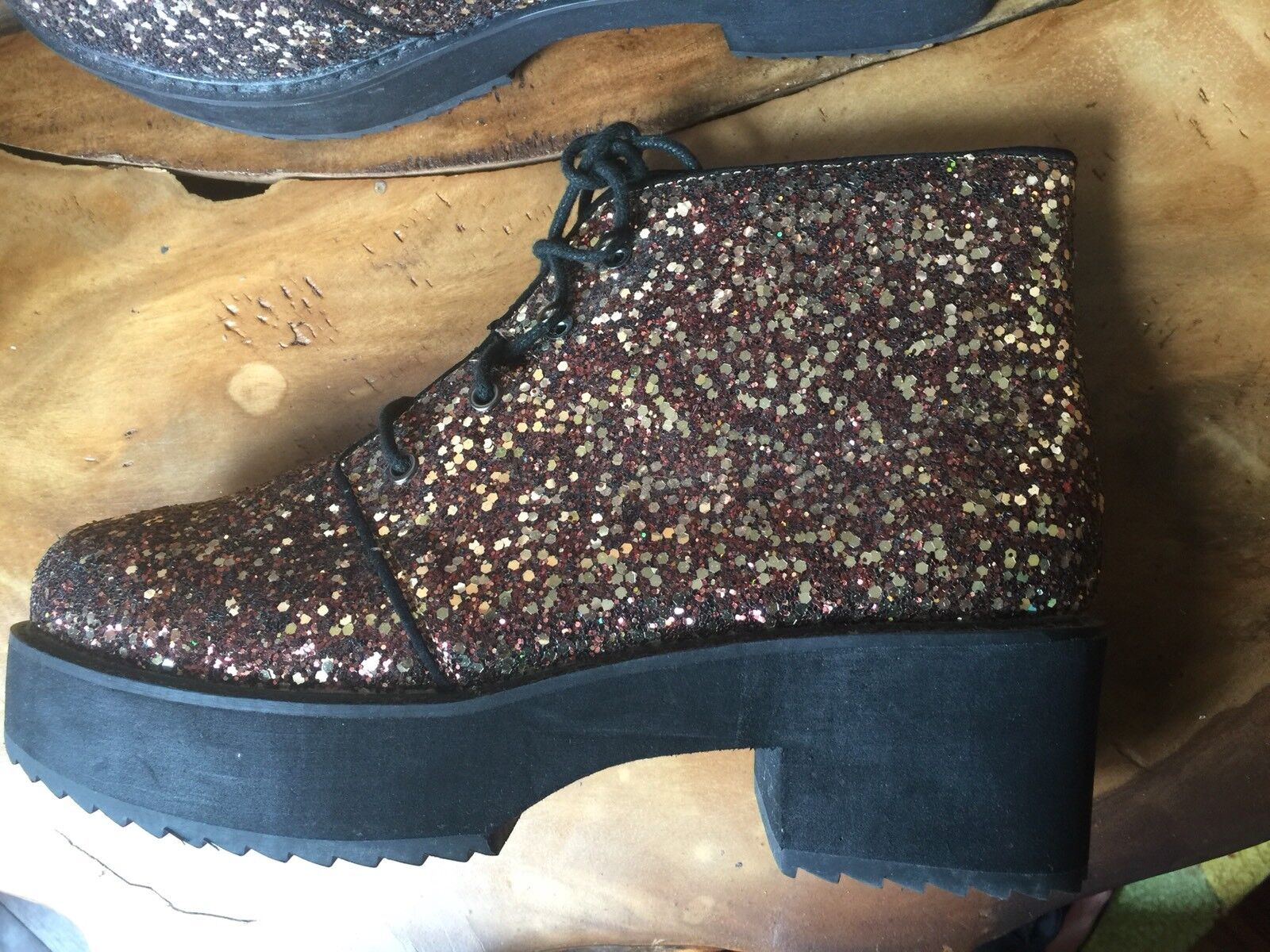ASOS Bronze 8 Glitter Ankle Platform Stiefel 8 Bronze New 63e3e0