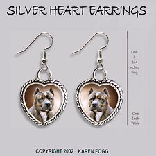 Pit Bull Terrier Dog Brindle Crop Ears - Heart Earrings Ornate Tibetan Silver