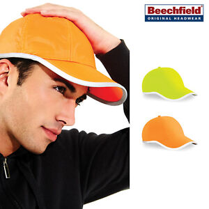 Enhanced-viz-Coton-Cap-Beechfield-B35-Fluorescent-Travail-Cyclisme-Casual-Wear