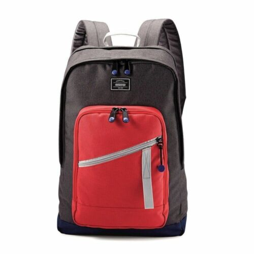 """NEW American Tourister 18/"""" Key Stone Backpack Red//Grey"""