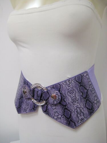 Purple Elastic Waist Genuine Snakeskin Belt W//Rhinestones Circle Buckle S-L